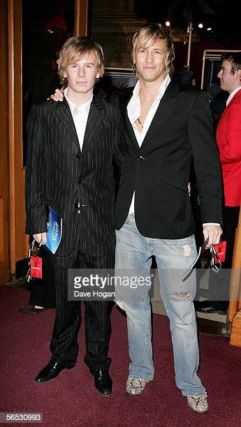 Sons of Status Quo guitarist Rick Parfitt Harry and Rick Jr arrive at the premiere for the new Cirque Du Soleil production Alegria at the Royal...