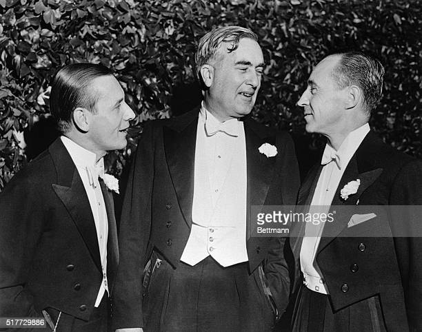 Sons of three famous pioneers of another generation - Henry Ford, Thomas Edison and Harvey Firestone - are pictured together at the debut Nov.19 of...