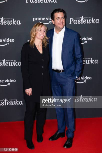 Sonsee Neu and Bastian Pastewka attend the premiere of the Amazon series 'PASTEWKA' at Cinedom on January 23, 2019 in Cologne, Germany.