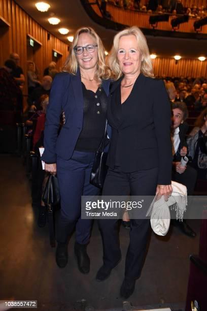 Sonsee Neu and Claudia Rieschel attend the 'Willkommen bei den Hartmanns' theater premiere on September 23 2018 in Berlin Germany