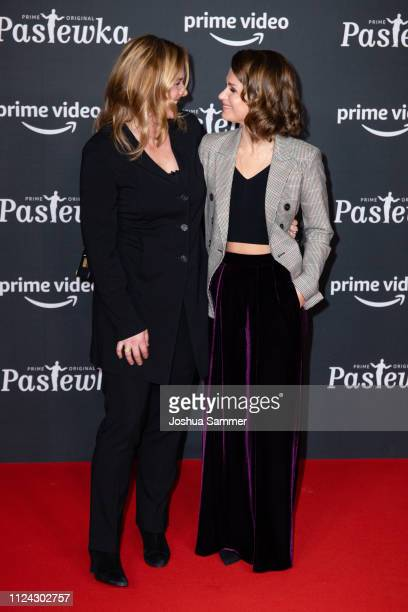 Sonsee Neu and Cristina do Rego attend the premiere of the Amazon series 'PASTEWKA' at Cinedom on January 23, 2019 in Cologne, Germany.