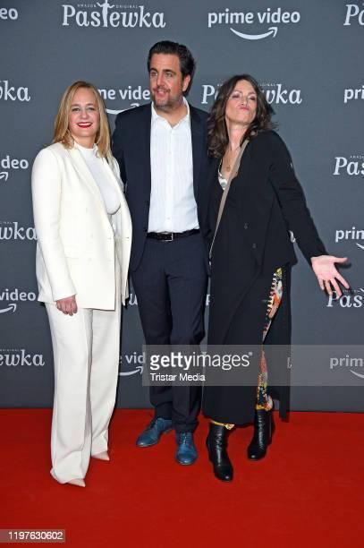 "Sonsee Neu, Bastian Pastewka and Sabine Vitua attend the premiere of the 10th season ""Pastewka"" at Zoo Palast on January 30, 2020 in Berlin, Germany."