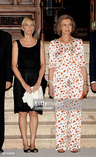 Sonsoles Espinosa and Queen Sofia of Spain stand at Marivent Palace on August 1 2008 in Palma de Mallorca Spain