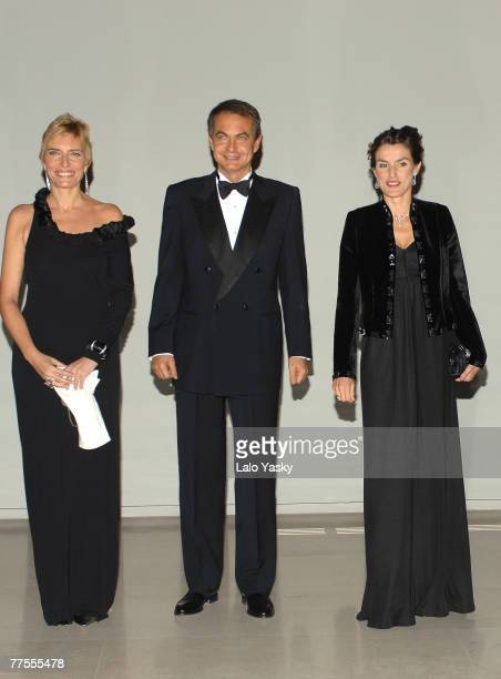 Sonsoles Espinosa Jose Luis Rodriguez Zapatero and Princess Letizia attend a gala dinner for the opening of the El Prado museum extension at Cason...