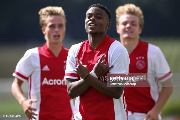 Sontje Hansen of Ajax celebrates after scoring to give the side a 2-0 lead during the UEFA Youth League Quarter Final match between Midtylland v Ajax...