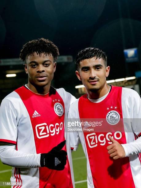 Sontje Hansen of Ajax U23, Quinten TImber of Ajax U23 celebrates the victory during the Dutch Keuken Kampioen Divisie match between SC Cambuur v Ajax...