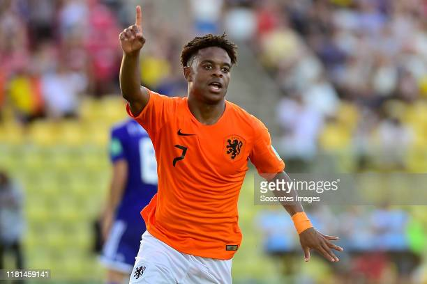 Sontje Hansen of Holland U17 2-0 during the World Cup U17 match between Holland v Paraguay at the Estádio Kléber Andrade on November 10, 2019 in...