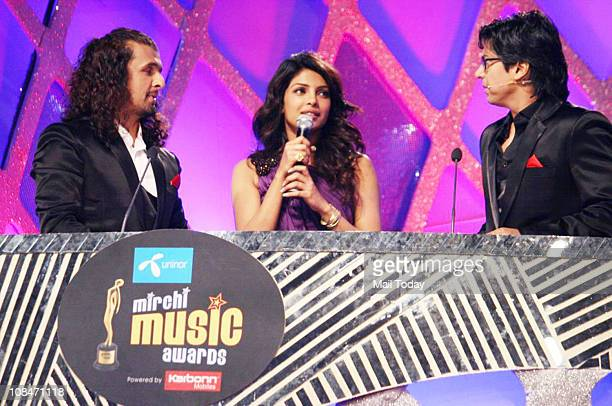 Sonu Nigam Priyanka Chopra and Shaan at Radio Mirchi Music Awards at BKC in Mumbai on January 27 2011