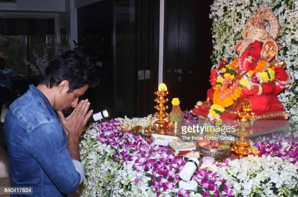 Sonu Sood along with his family during the Ganesh Chaturthi at his residence in Mumbai