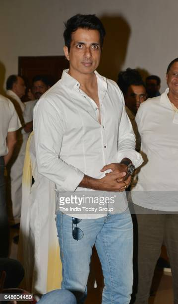 Sonu Sood during the prayer meeting for Suniel Shetty's father Veerapa Shetty in Mumbai