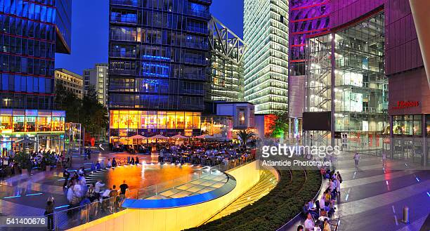 sony center at night - sony center berlin stock pictures, royalty-free photos & images