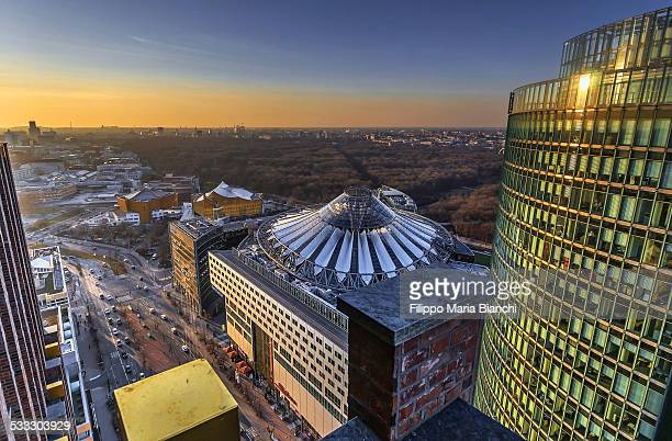 sony center from above - sony center berlin stock pictures, royalty-free photos & images