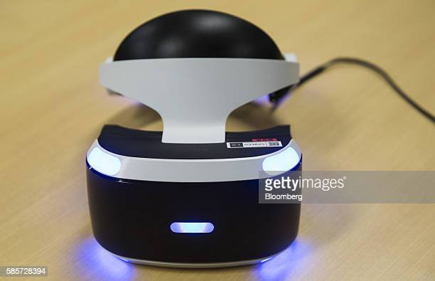 A Sony Computer Entertainment Inc PlayStation VR headset is arranged for a photograph at Capcom Co's research and development center in Osaka Japan...