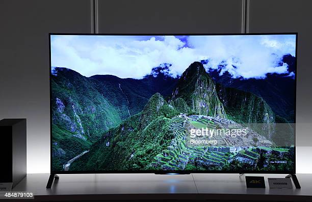 Sony Corp 4K Bravia liquidcrystaldisplay televisions are displayed during an unveiling in Tokyo Japan on Tuesday April 15 2014 Sony the world's No 3...