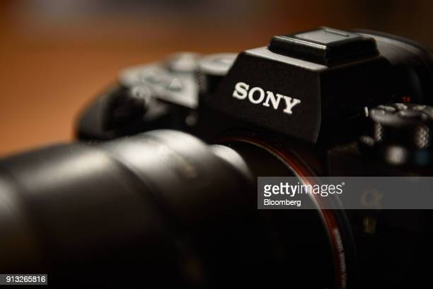 A Sony Corp A9 mirrorless digital camera stands on displayed at the company's headquarters in Tokyo Japan on Friday Feb 2 2018 Sony announced to...