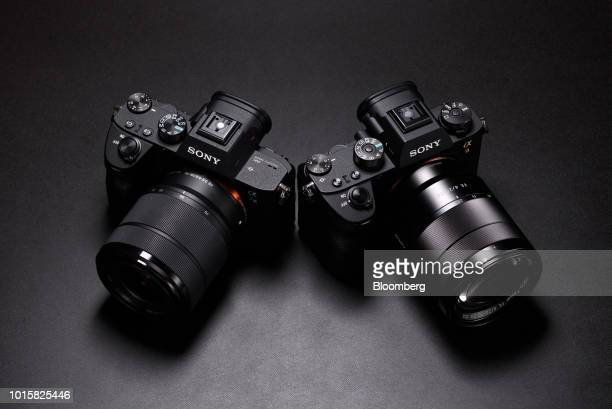 A Sony Corp Alpha a7III mirrorless digital camera mounted with an FE 2870mm f/3556 OSS standard zoom lens left and an Alpha a9 mirrorless digital...