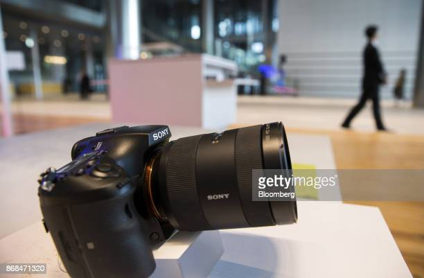 A Sony Corp Alpha series mirrorless digital camera is displayed at the company's headquarters in Tokyo Japan on Tuesday Oct 31 2017 The Tokyobased...
