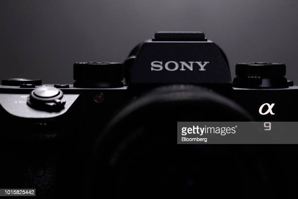 A Sony Corp logo is displayed on the company's Alpha a9 mirrorless digital camera in an arranged photograph taken in Kawasaki Kanagawa Prefecture...