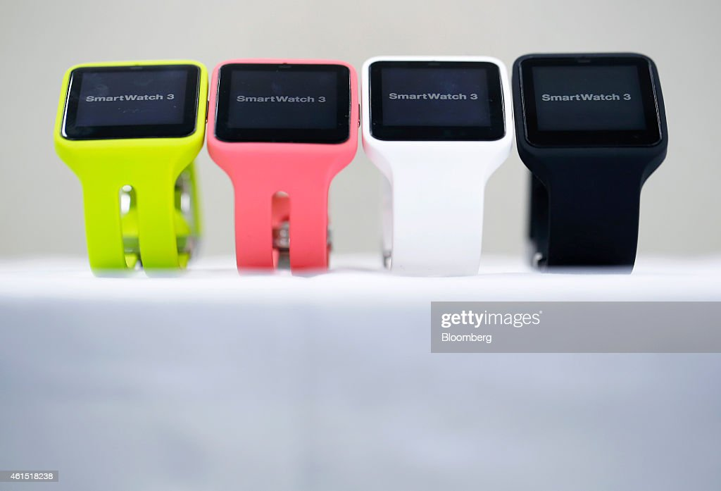 Sony Corp. SmartWatch 3 wearable devices sit on display during a media preview at the Wearable Expo in Tokyo, Japan, on Wednesday, Jan. 14, 2015. The world largest expo for wearable devices and technologies will be held through Jan.16. Photographer: Kiyoshi Ota/Bloomberg via Getty Images