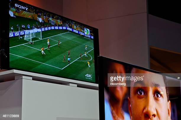Sony Corp's 4K ultra high definition televisions are unveiled during a news conference at the 2014 Consumer Electronics Show in Las Vegas Nevada US...