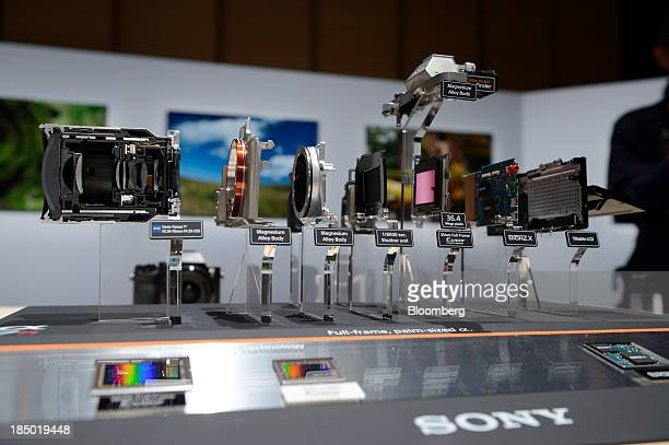 Sony Corp's A7R mirrorless digital camera broken down into its components is displayed at an unveiling in Tokyo Japan on Wednesday Oct 16 2013 Sony...