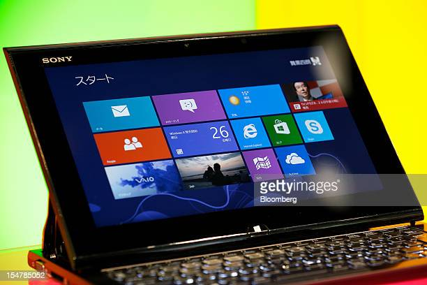 Sony Corp's Vaio Duo 11 laptop computer running Microsoft Corp's Windows 8 operating system sits on display during a launch event in Tokyo Japan on...