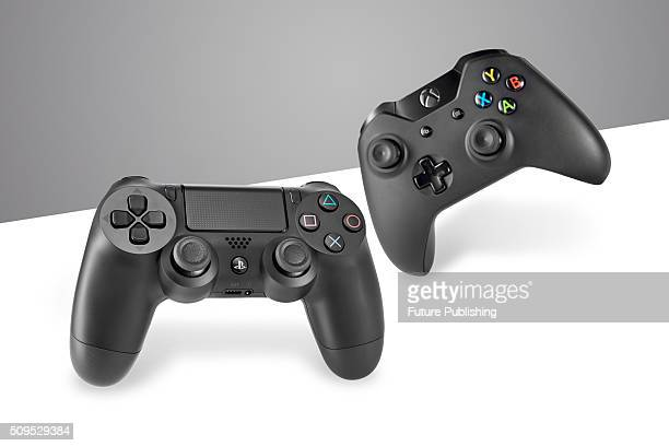 A Sony DualShock 4 wireless controller and Microsoft Xbox One wireless controller taken on January 22 2016