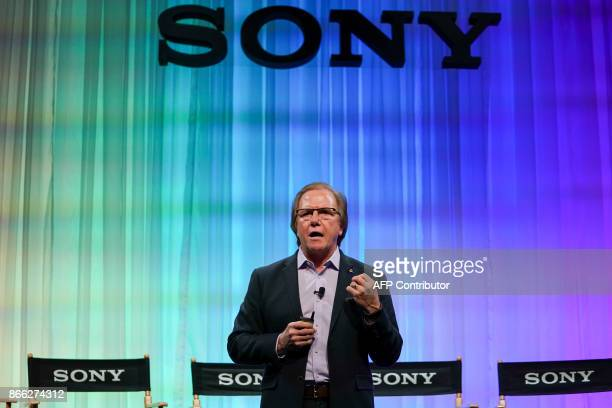 Sony Electronics President and COO Mike Fasulo speaks during an event to unveil companys new camera Alpha 7 R III in New York on October 25 2017 /...