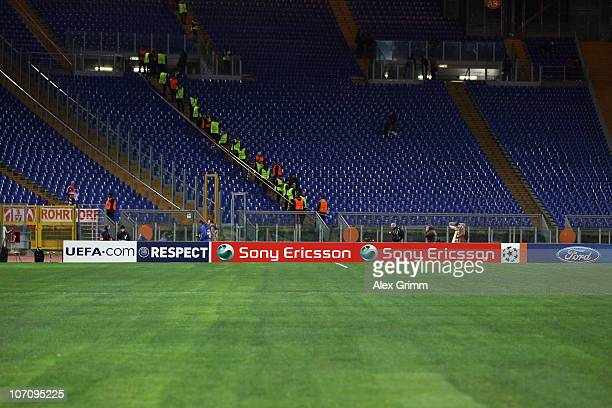 Sony Ericsson advertisement board is seen before the UEFA Champions League group E match between AS Roma and FC Bayern Muenchen at Stadio Olimpico on...