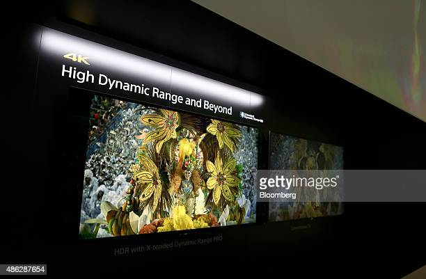 Sony High Dynamic Range 4K televisions sit on display at the Sony Corp exhibition stand during previews of the IFA International Consumer Electronics...
