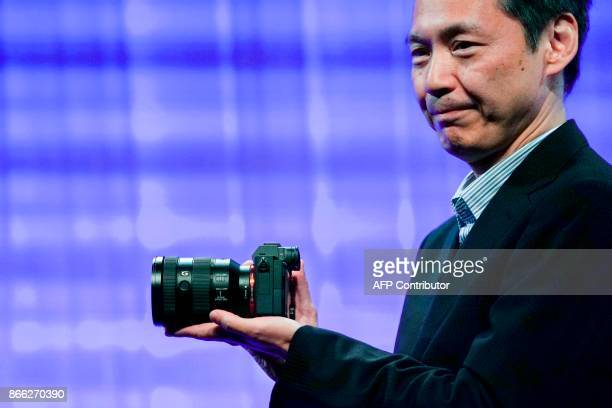 Sony Imaging Products and Solutions Inc senior manager Yas Nagata introduces the companys new camera Alpha 7R III during an event in New York on...