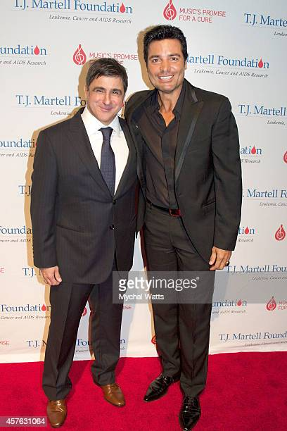 Sony Latin CEO Afo Verde and Actor Chaynne attends the 2014 TJ Martell Honors Gala New York at Cipriani 42nd Street on October 21 2014 in New York...
