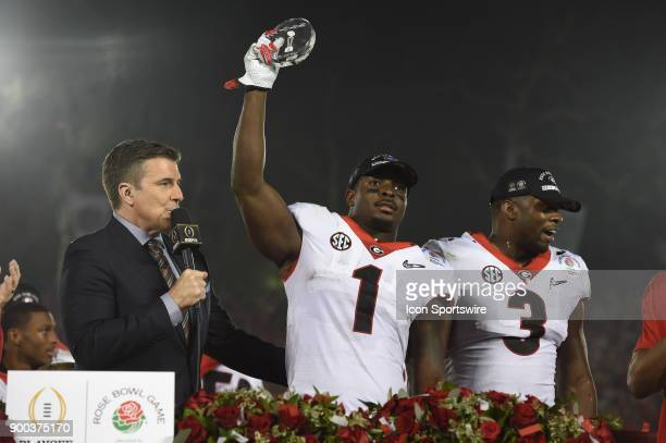 Sony Michel of the Georgia Bulldogs is named game MVP after the Bulldogs defeated the Sooners the College Football Playoff Semifinal at the Rose Bowl...