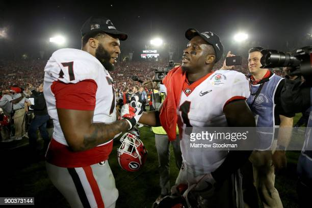 Sony Michel of the Georgia Bulldogs shakes hands after the 2018 College Football Playoff Semifinal Game against the Oklahoma Sooners at the Rose Bowl...