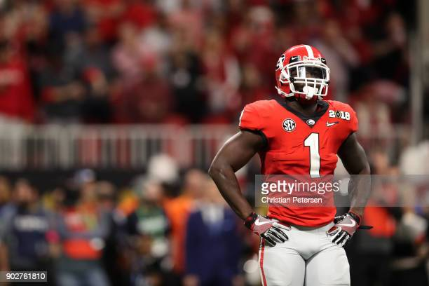 Sony Michel of the Georgia Bulldogs stands on the field during the second quarter against the Alabama Crimson Tide in the CFP National Championship...