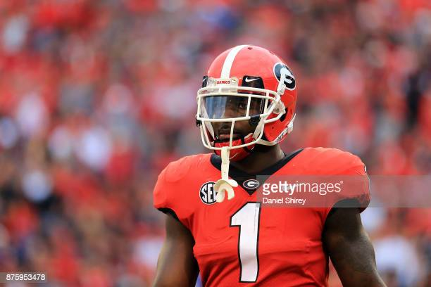 Sony Michel of the Georgia Bulldogs walks off the field during the first half against the Kentucky Wildcats at Sanford Stadium on November 18 2017 in...