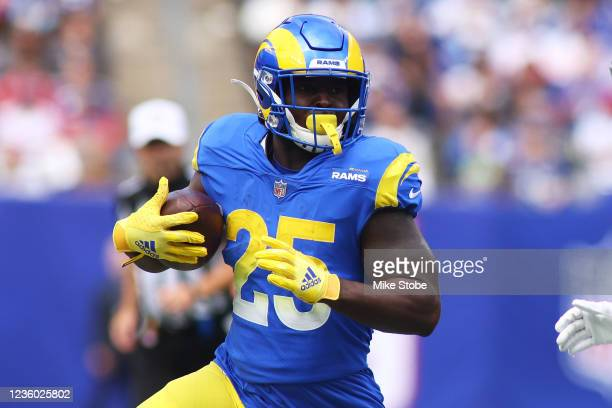 Sony Michel of the Los Angeles Rams in action against the New York Giants at MetLife Stadium on October 17, 2021 in East Rutherford, New Jersey. Los...