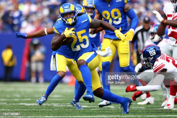 Sony Michel of the Los Angeles Rams in action against the New York Giants during a game at MetLife Stadium on October 17, 2021 in East Rutherford,...