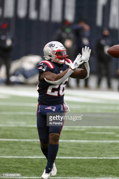 Sony Michel of the New England Patriots has a long gain against the New York Jets at Gillette Stadium on January 3, 2021 in Foxborough, Massachusetts.