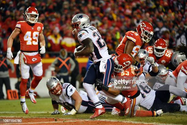 Sony Michel of the New England Patriots rushes for a 1-yard touchdown in the first quarter against the Kansas City Chiefs during the AFC Championship...