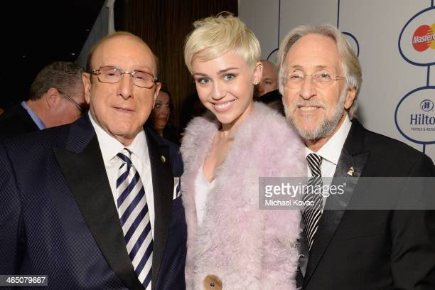 Sony Music Chief Creative Office Clive Davis recording artist Miley Cyrus and the Recording Academy President/CEO Neil Portnow attend the 56th annual...