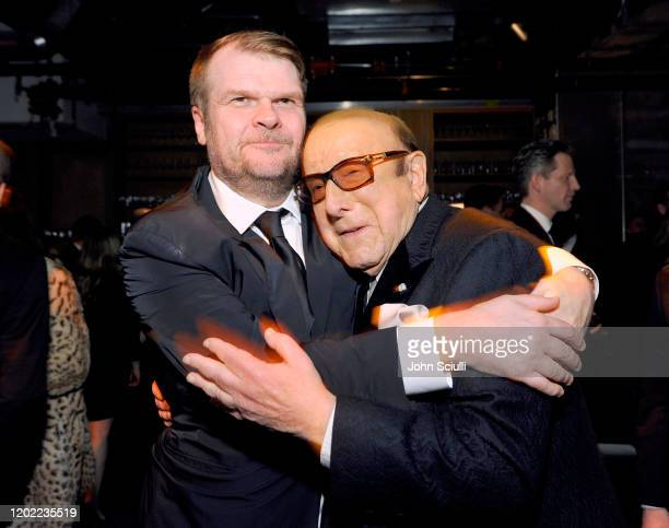 Sony Music Group Chairman Rob Stringer and Clive Davis attend the Sony Music Entertainment 2020 PostGrammy Reception at NeueHouse Hollywood on...