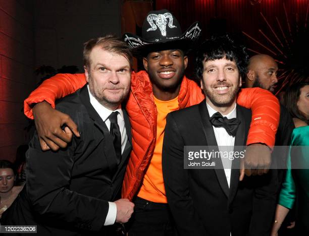 Sony Music Group Chairman Rob Stringer, Lil Nas X, and Columbia Chairman & CEO Ron Perry attend the Sony Music Entertainment 2020 Post-Grammy...