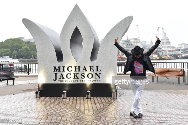 Sony Music in collaboration with The Estate of Michael Jackson install a 13 foot jewelled crown to celebrate the King of Pop's Diamond Birthday at...