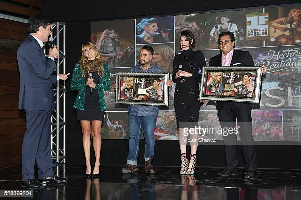 Sony Music M��xico director, Roberto Lopez, singers Ashley Grace Perez and Hanna Nicole of Ha-Ash attend a press conference at Hotel Camino Real...