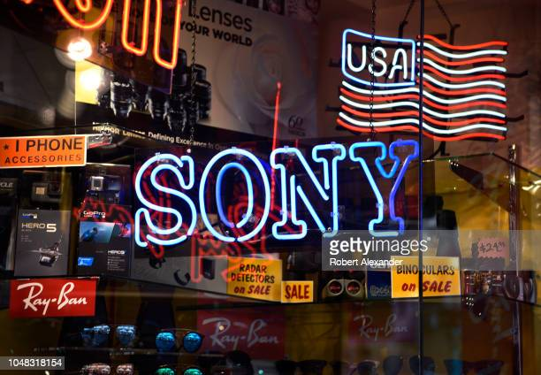 Sony neon sign burns in the window of a camera and electronics store in San Francisco, California.