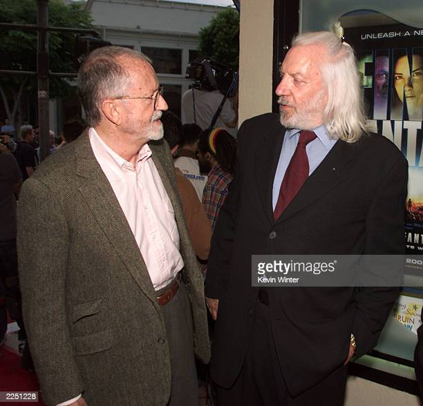 Sony Pictures Chairman/CEO John Calley and Donald Sutherland at the premiere of 'Final Fantasy: The Spirits Within' at the Bruin Theater in Los...