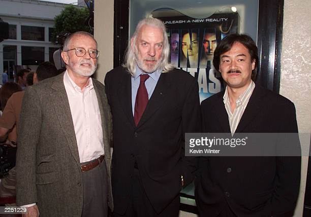 Sony Pictures Chairman/CEO John Calley, Donald Sutherland and Final Fantasy creator/producer/director Hironobu Sakaguchi at the premiere of 'Final...