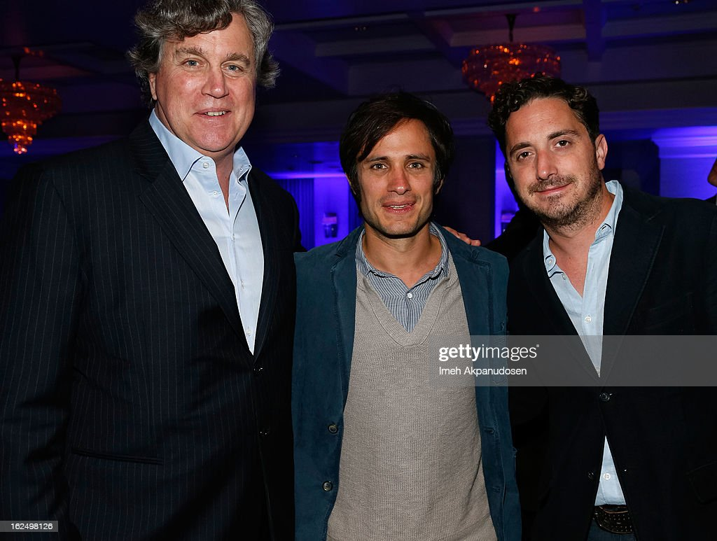 Sony Pictures Classics Co-Founder/Co-President Tom Bernard, actor Gael Garcia Bernal, and director Pablo Larrain attend the Sony Pictures Classics Pre-Oscar Dinner at The London Hotel on February 23, 2013 in West Hollywood, California.