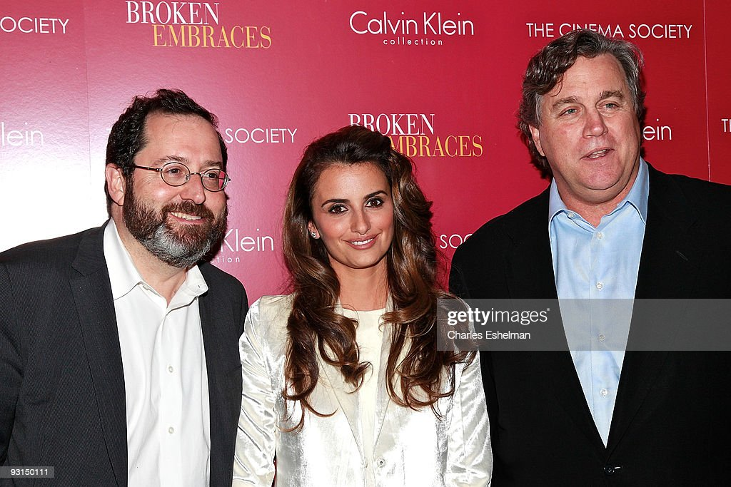 Sony Pictures Classics' Co-president Michael Barker, actress Penelope Cruz and Sony Pictures Classics' Co-president Tom Bernard attend The Cinema Society & Calvin Klein screening of 'Broken Embraces' at the Crosby Street Hotel on November 17, 2009 in New York City.
